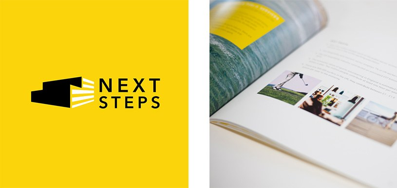 Next Steps Logo and Book Image