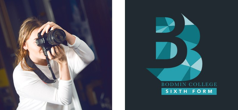 Bodmin College Sixth Form Branding and student with camera Image