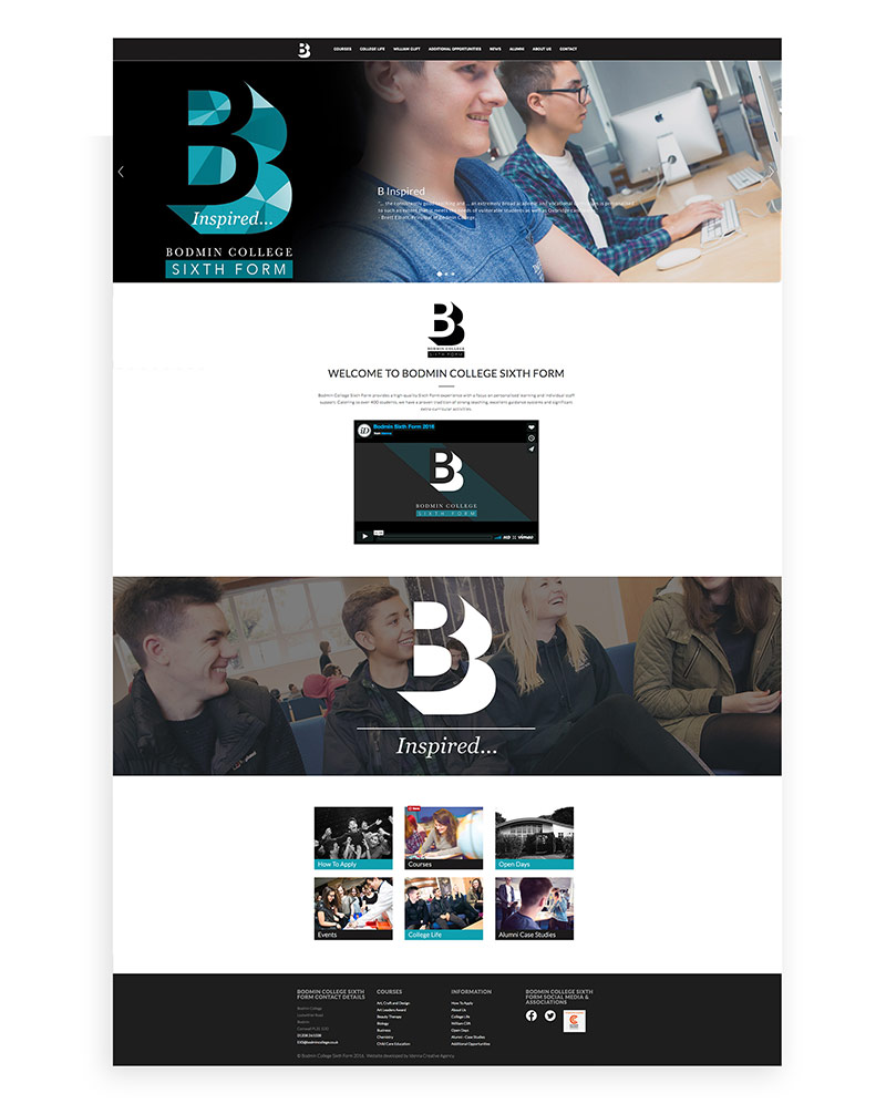 Bodmin College Sixth Form Website Homepage