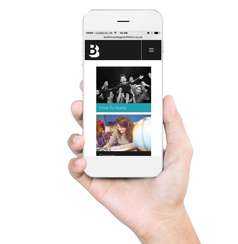 Bodmin College Sixth Form Website responsive on mobile Image