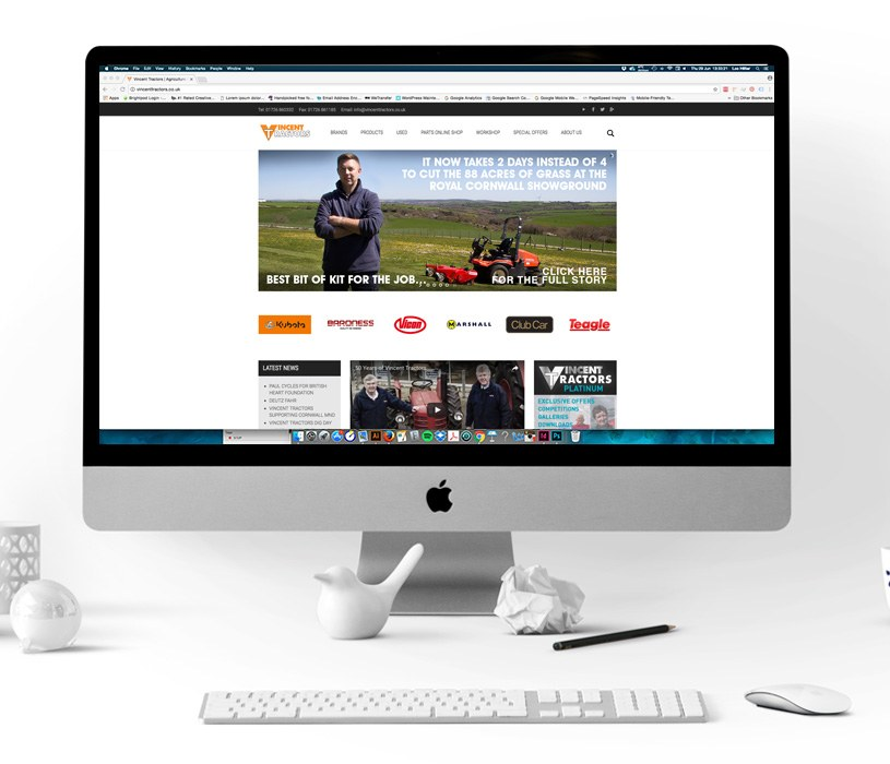 Vincent Tractors Website Homepage Image
