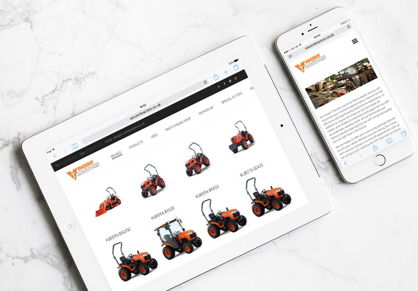 Vincent Tractors Website On Tablet and Phone